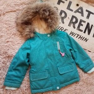 Cat & Jack Infant Girl Winter Coat Parka Fur Trim